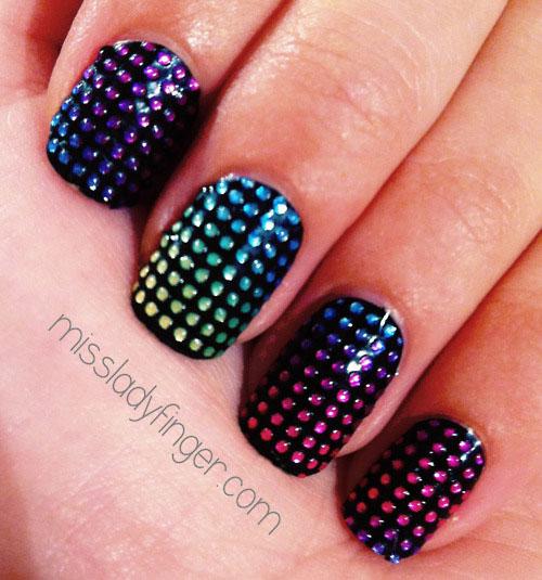 rainbow gradient studded black nails