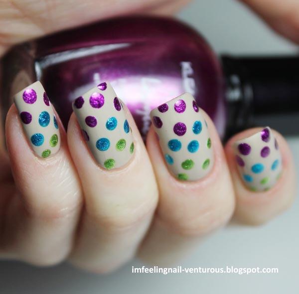 rainbow metallic dots on matte nails