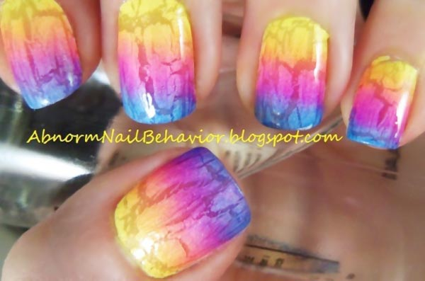 rainbow neon crackle gradient summer nails