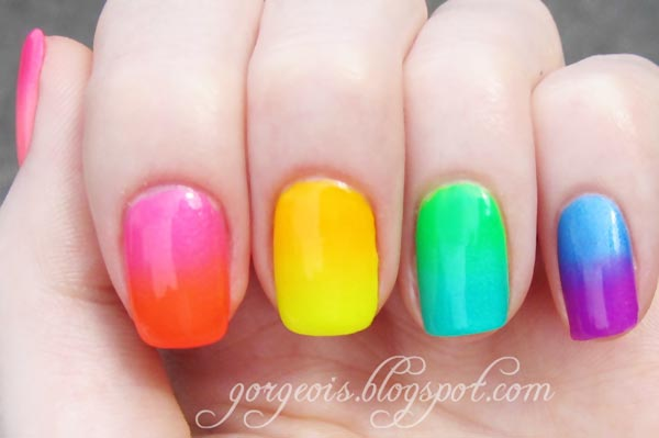 rainbow neon gradient summer nails - Favnails