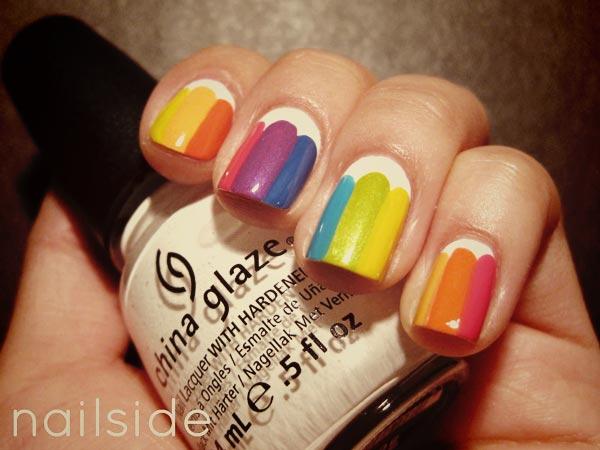 rainbow on white nails