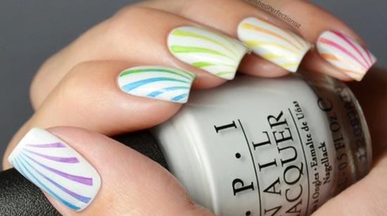 rainbow rays on white nails