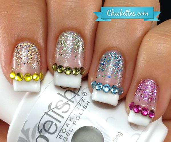 rainbow rhinestones glitter french nails