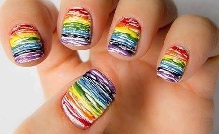 rainbow splatter nails