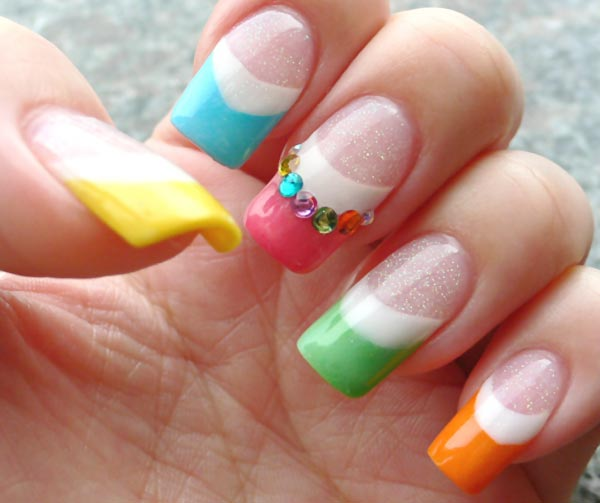Rhinestones Rainbow Summer French Nails