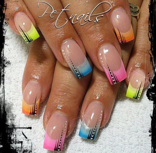 rainbow tips french nails