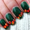 red apples green fall nails