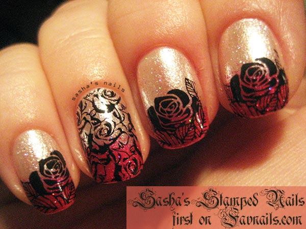 red beige shimmer roses stamped gradient nails