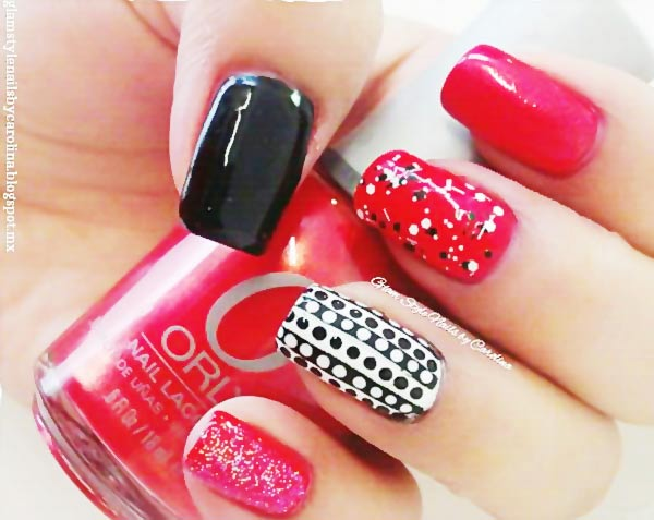 red black dots glitter accent nails