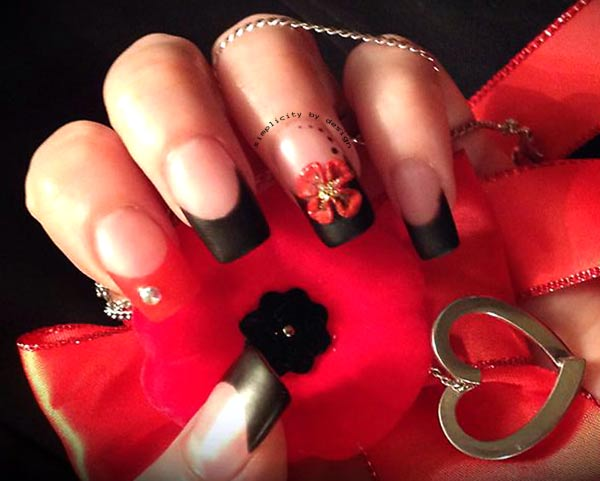 red black french remembrance day nails