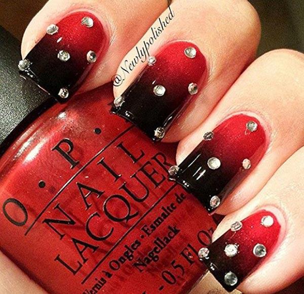 red black gradient rhinestones festive nails
