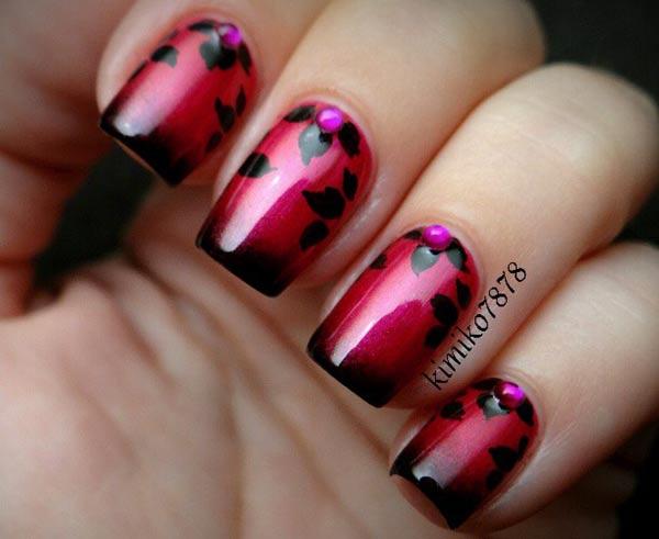 red black gradient rhinestones flowers nails