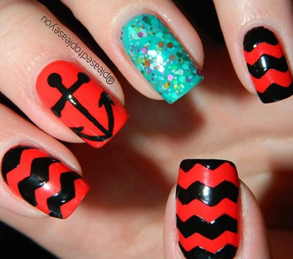 black red green summer nails