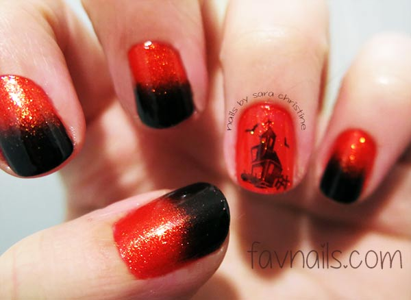 black red gradient stamped halloween nails