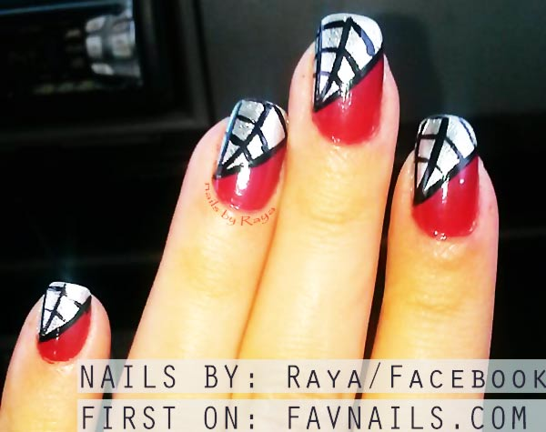 red black silver spiderweb halloween nails