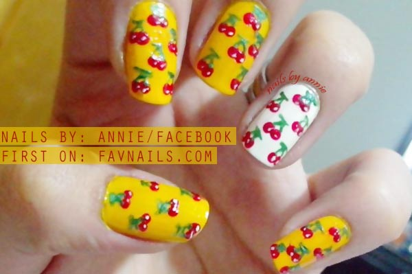 red cherry yellow white summer nails