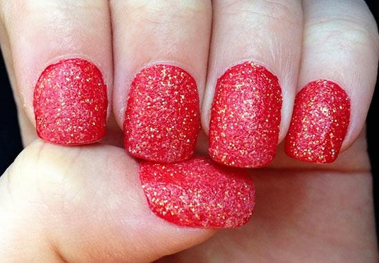 red christmas glitter nails