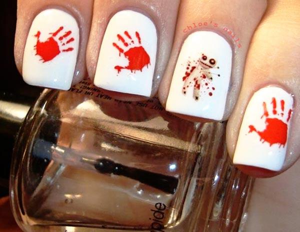 red decals voodoo halloween nails