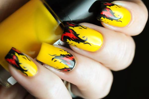 red flames on yellow halloween nails