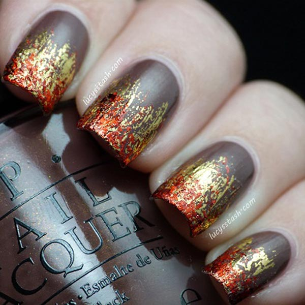red gold foil flames nails