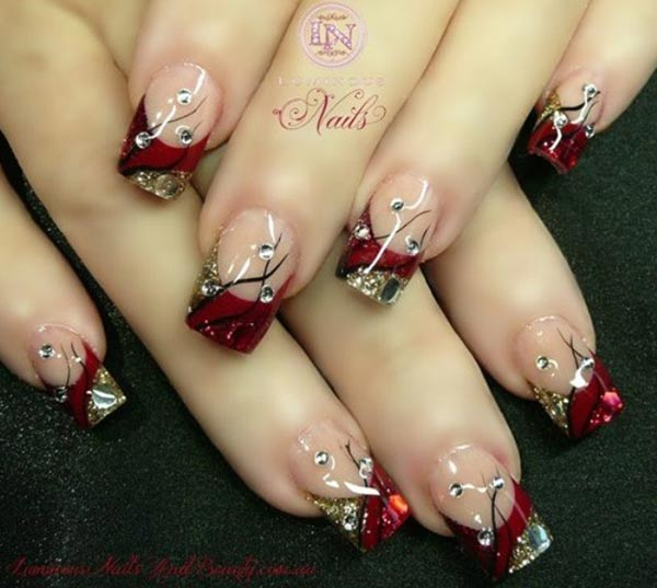 red gold rhinestones christmas french nails