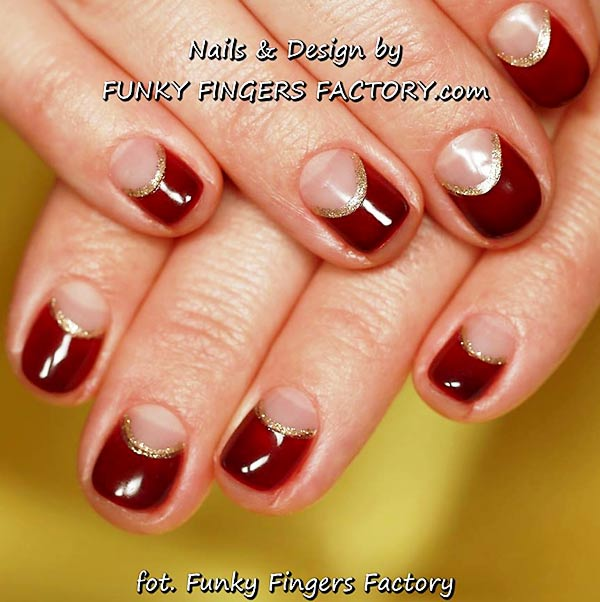 red gold shimmer halfmoon nails