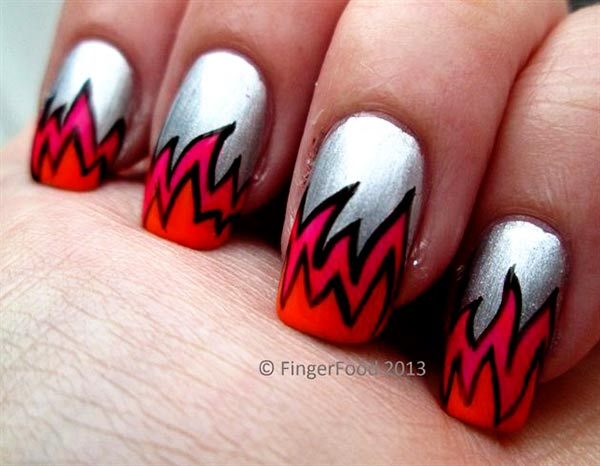 red gradient flames silver cartoon halloween nails