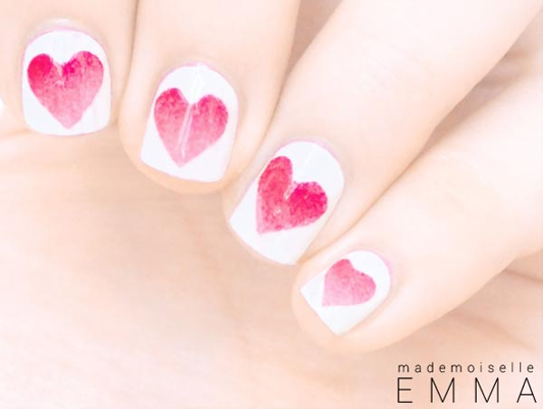 red gradient nails white girly nails