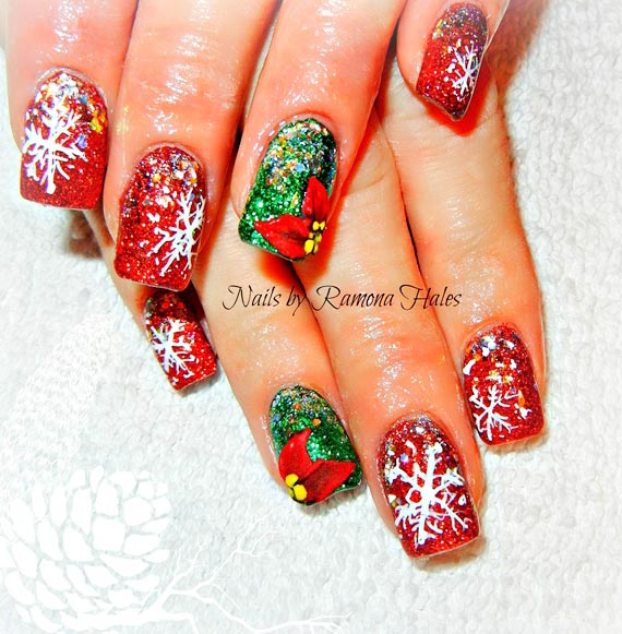 red green glitter snowflakes nails