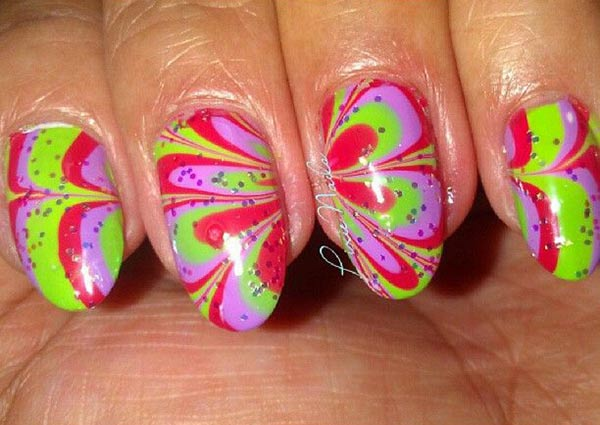 red green lilac colorful marbled nails