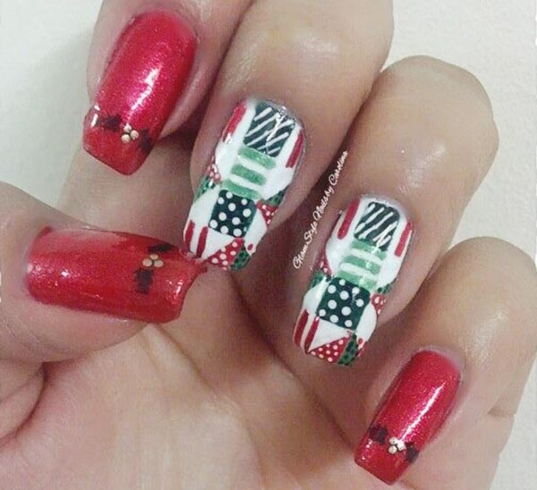 red green white christmas mix nails