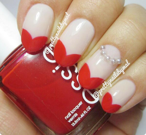 red hearts tips valentines day nails