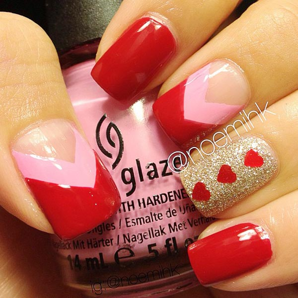 red hearts glitter valentines day nails