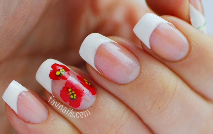 red poppies freehand spring french nails