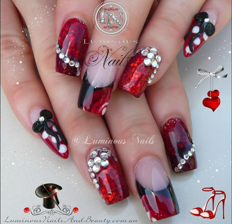 red rhinestones bows disney nails