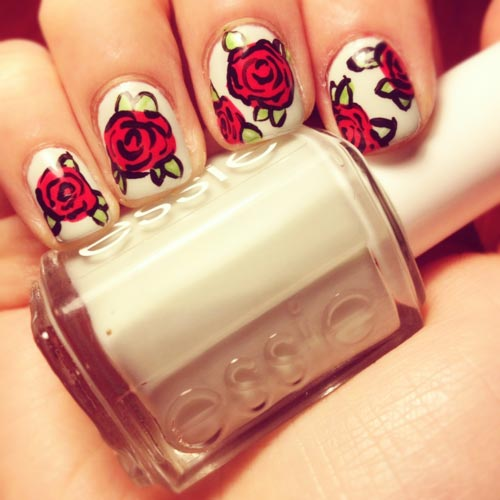 red roses white nails