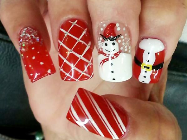 red snowman glitter christmas nails