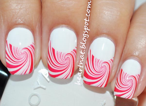 red swirls french stamped nails