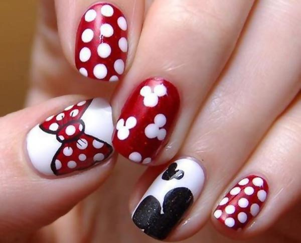 red white black cutest disney nails