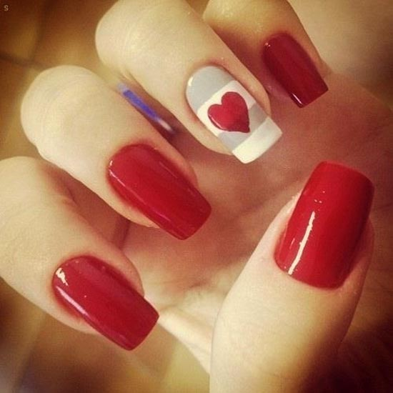 red white gray valentines day nails