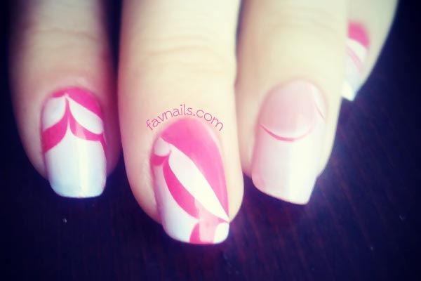 red white marbled nails