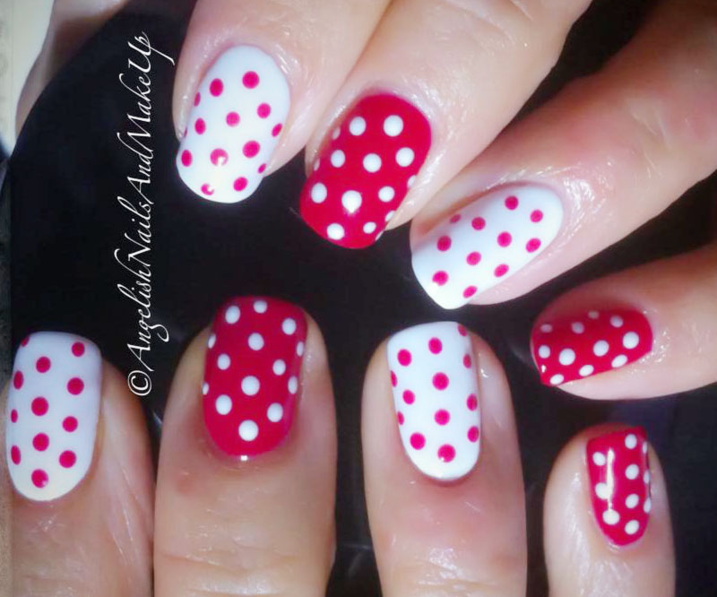 red white polka dots cute nails