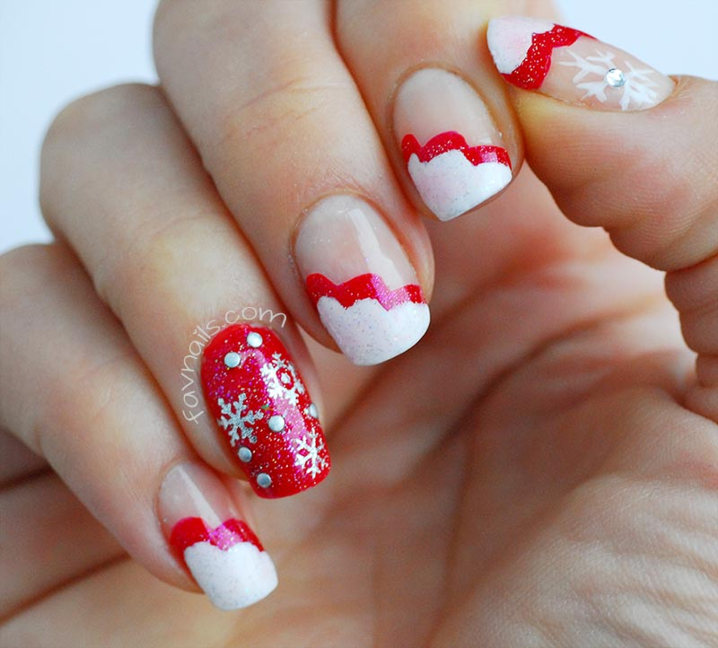 red white wavy french snowflakes christmas nails