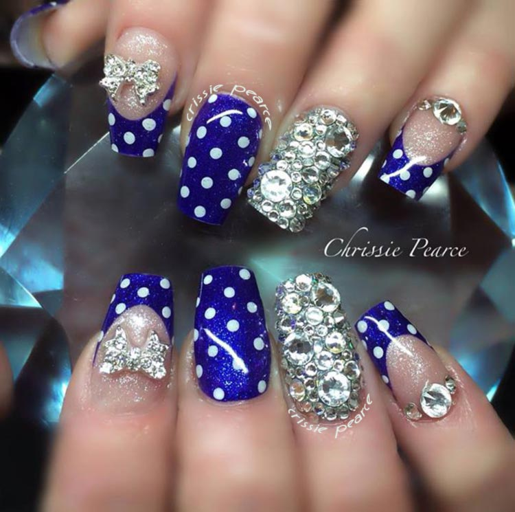 rhinestones dotted blue french bow nails