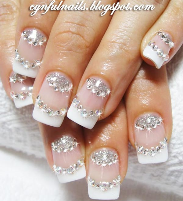rhinestones glitter french wedding nails