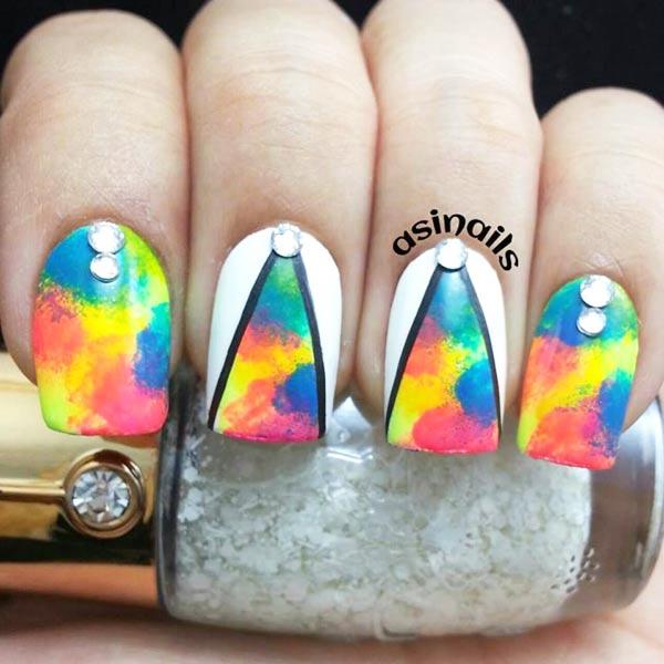 rhinestones white edges neon gradient nails