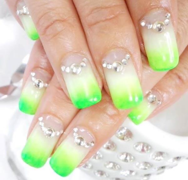 rhinestones white lime gradient summer nails