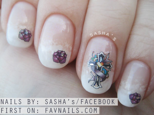 romantic gothic decals cloudy french nails