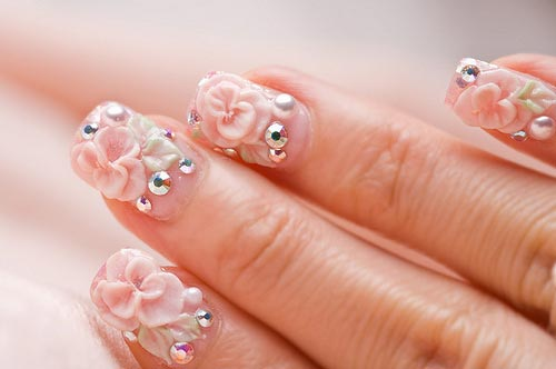 roses beads rhinestones nails