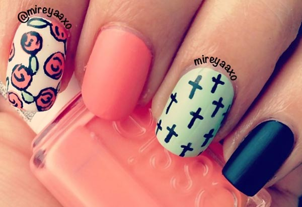 roses lime black coral nails